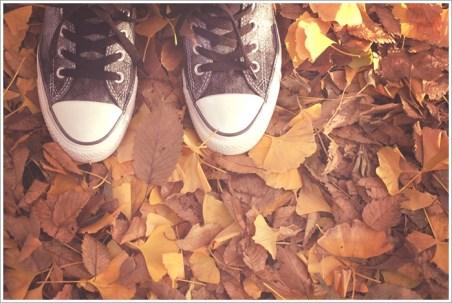 秋、靴、紅葉