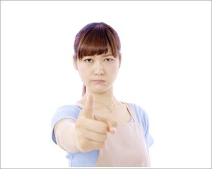 女性、怒る、人差し指