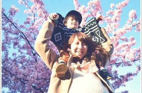 桜、春、親子、子供