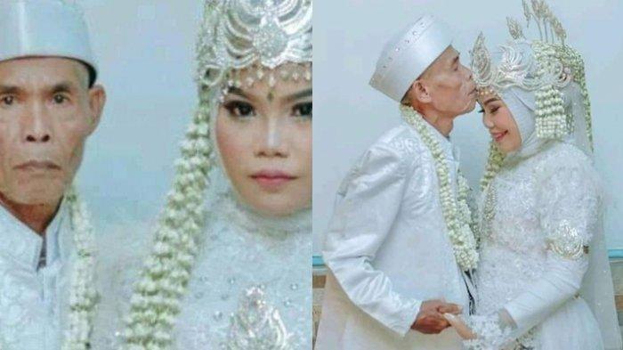 Sweetnya! Foto Pernikahan Abah Sarna 71 Tahun dan Noni 18 Tahun, Momen Cium Dahi Istri Viral