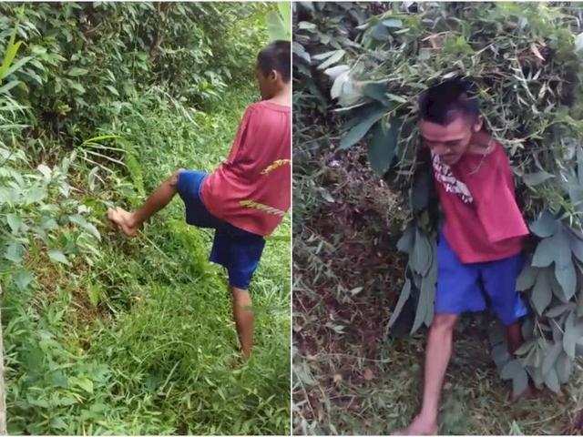 Punya Keterbatasan Fisik, Pria Ini Cari Rumput Pakai Kaki