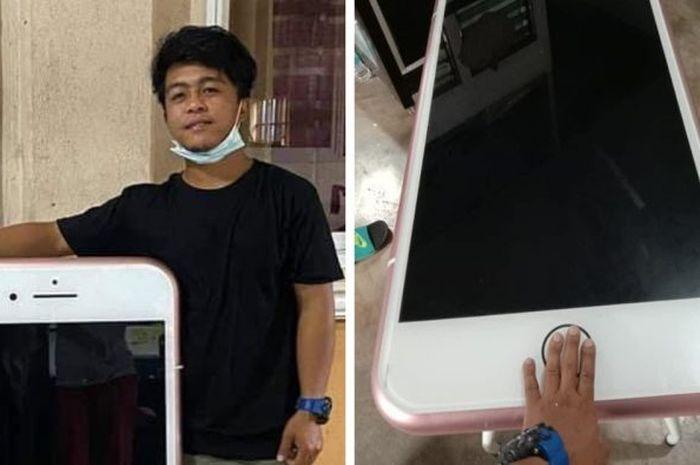 Pria mengira membeli ponsel iPhone, ternyata yang datang malah meja bentuk iPhone.