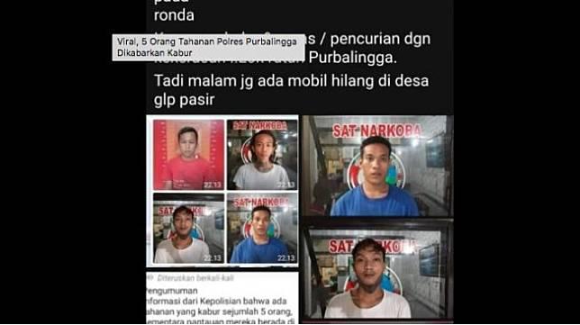 Tangkapan layar tahanan purbalingga kabur yang viral di media sosial. [Hestek.id]