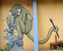 Chango cientifico,acrilic on wall, Chiapas,Mexico,2011