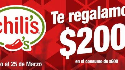 cb7299933 Chili s –  200 de regalo en tu siguiente consumo de  600 usando cupón…