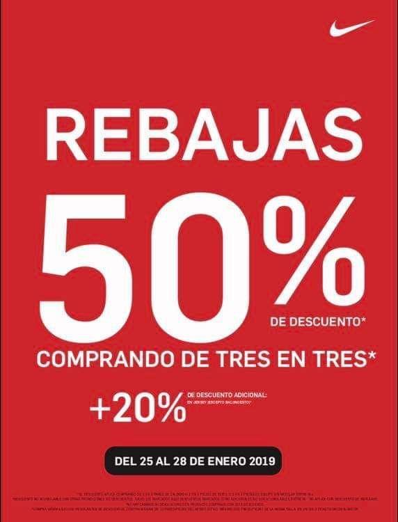 reparar whisky Chispa  chispear  Nike Store México -Enero 2019: REBAJAS / 50% de descuento + 20% en la  compra de 3 prendas del 25 al 28 de enero... - LiquidaZona