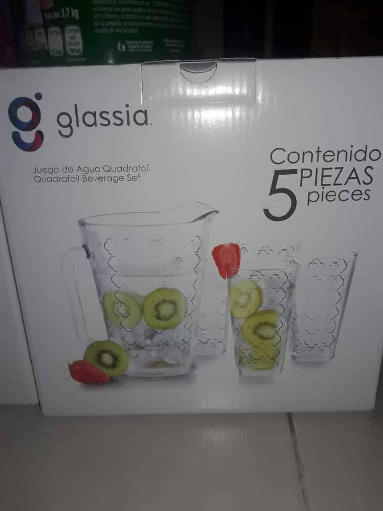 $16.01 - Bodega Aurrerá - Set de 4 vasos + 1 jarra de vidrio marca Glassia / Caja de 5pz con el 85% de descuento...