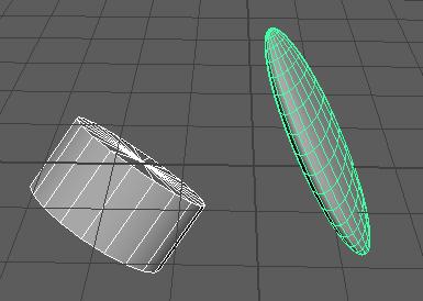 CylinderとSphereのオブジェクトを選択して実行しました。