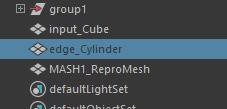 Outliner で「edge_Cylinder」を選択