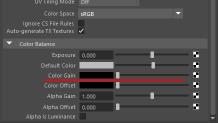 カラーゲイン(Color Gain)の値