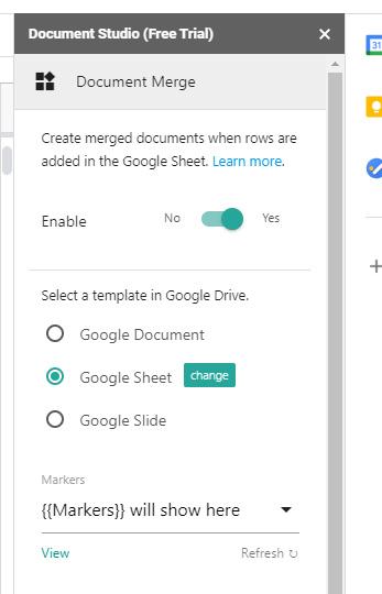 Document Studio のサイドバー