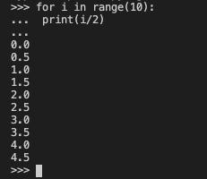 float型の値 0.0 0.5 1.0 1.5 ...が出力
