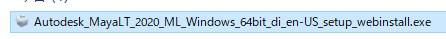 ダウンロードされたファイル名を確認すると分かりますが、製品バージョンは「MAYA LT 2020」