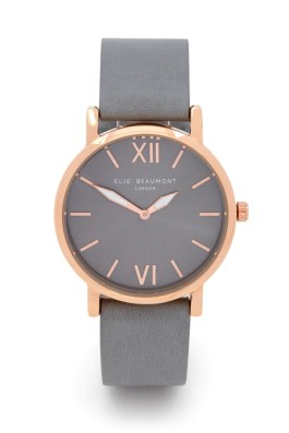 Elie Beaumont Grey Square Strap Rose Gold Watch
