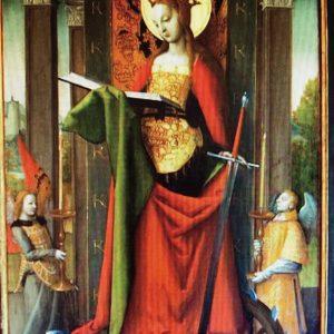 Panneau représentant Saint Catherine d'Alexandrie, par Jean Perréal. 1507