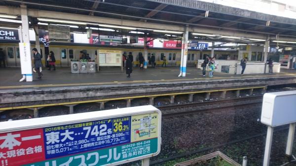 総武線から横須賀線の乗り換えを市川ですると錦糸町で追いつく
