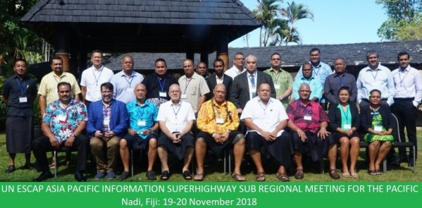 Group Photo of participants at the UNESCAP AP-IS Subregional meeting for the Pacific, in Nadi, Fiji, 19-20 November 2018