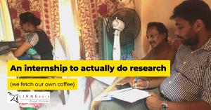 image of a researcher interviewing a respondent while another person does some work