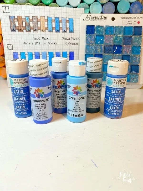 blue acrylic paint, drawing tiles