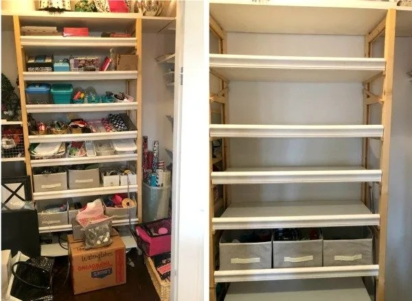before and after closet shelving