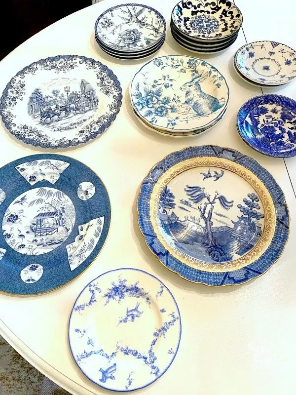 blue and white plates