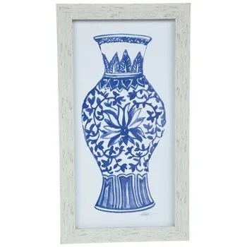 blue and white vase wall art