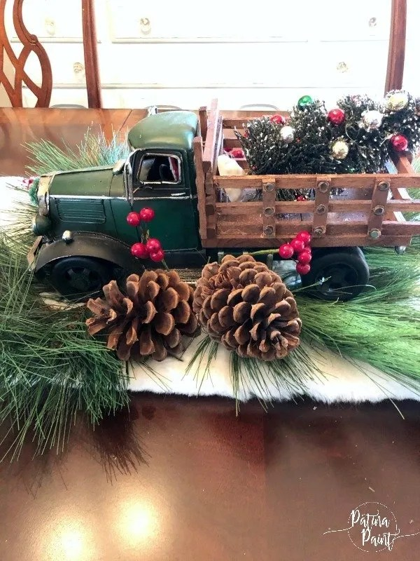 truck centerpiece with pinecone picks