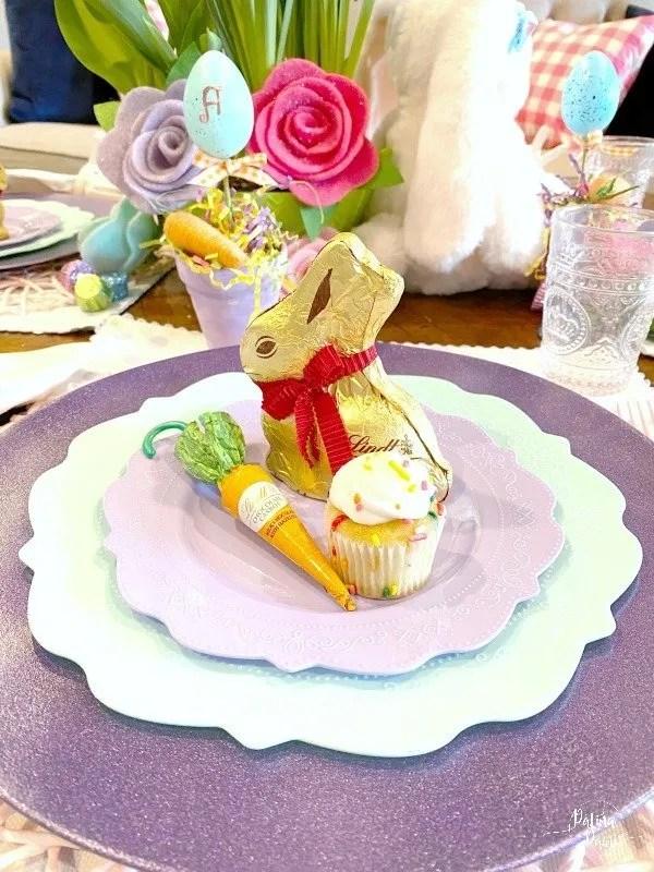 chocolate bunny, carrot and cupcake