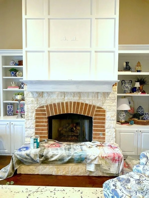 coat one of paint on fireplace mantle