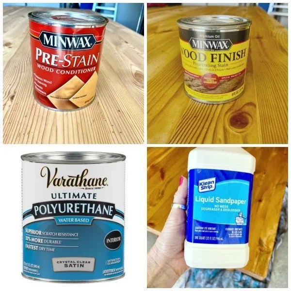 pre-stain, stain, polyurethane, liquid sandpaper
