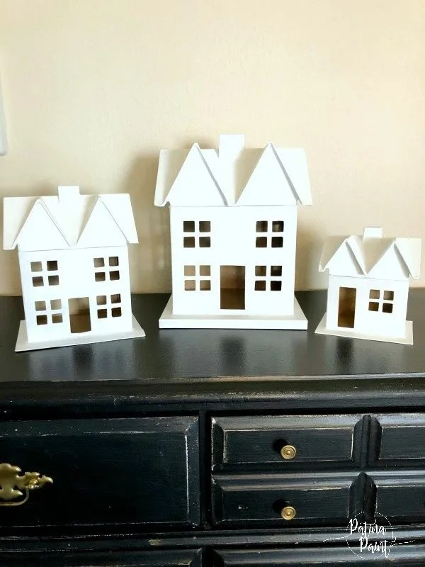 white christmas paper mâché houses