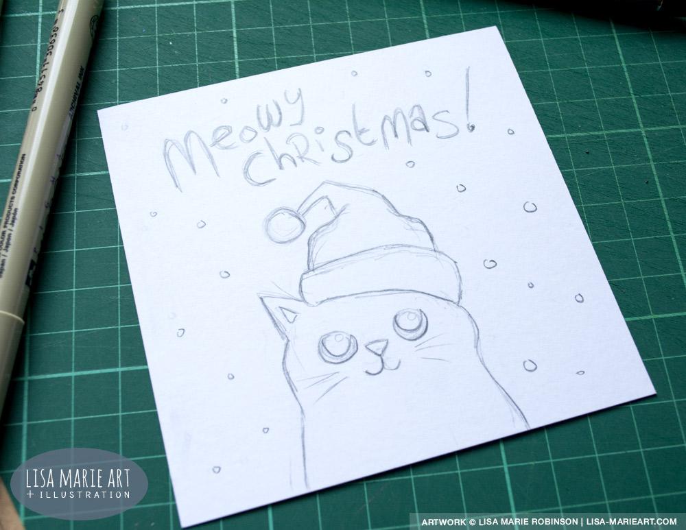 Hand Drawn Cat Christmas Cards Sneak Peek Lisa Marie
