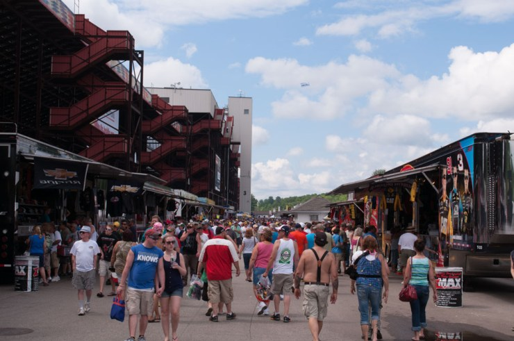 Souvenir alley was behind the grandstands. All the food and beer counters were under the bleachers.
