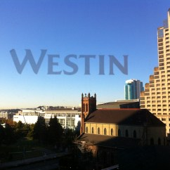 Morning from the Westin. Westin is actually etched in the window.