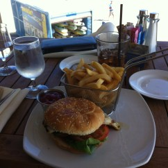 Lunch at the hotel restaurant, watching some of our brave coworkers returning from their surfing lesson