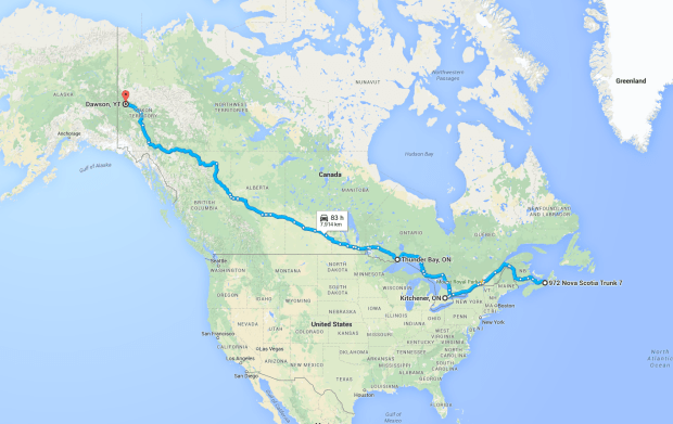 Map of Canada showing our route.