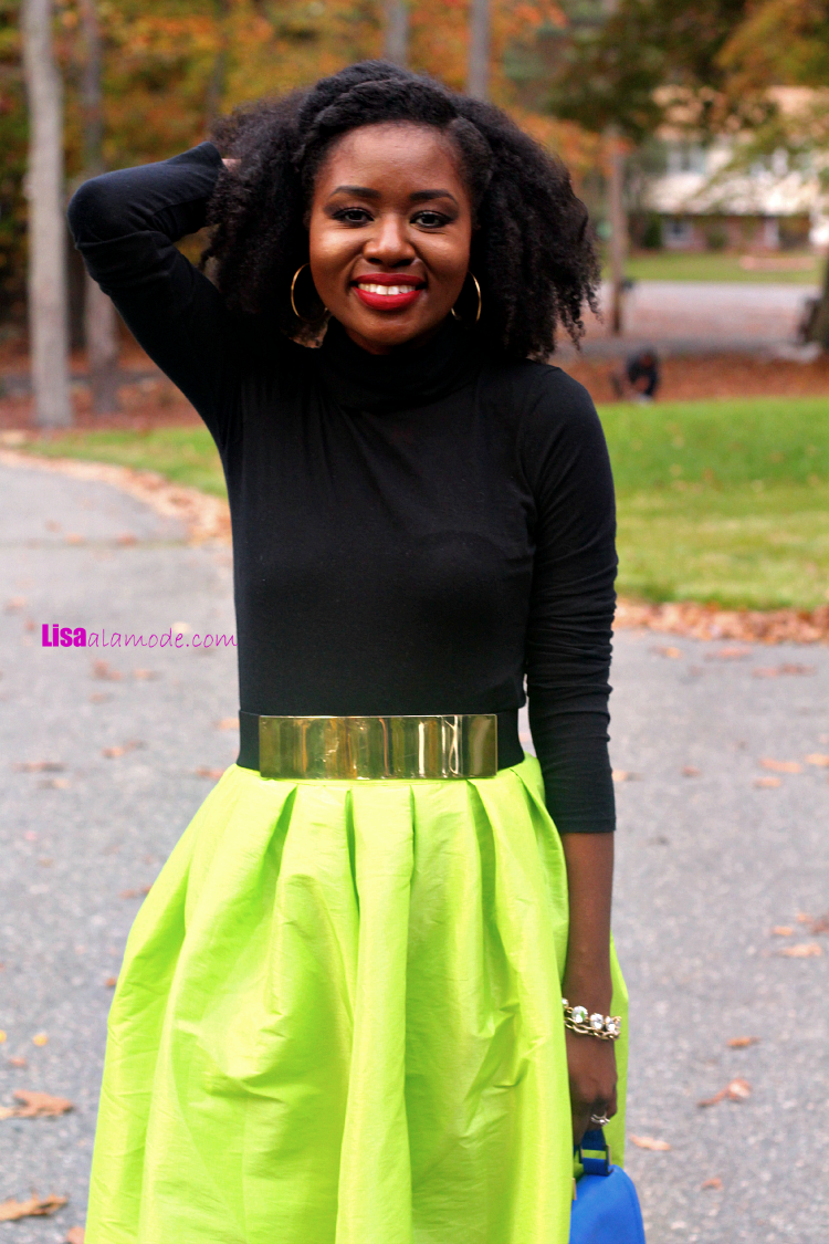 Bright Neon Green Midi Skater Skirt19 Bright Neon Green Midi Skater Skirt-sheinside