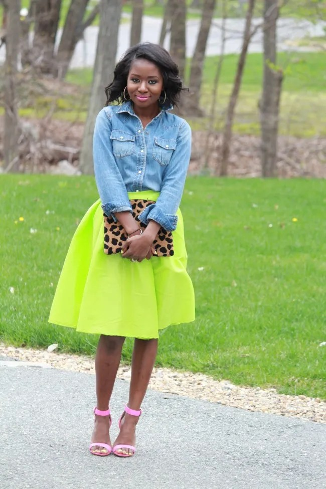 neon-green-sheinside-midi-skirt