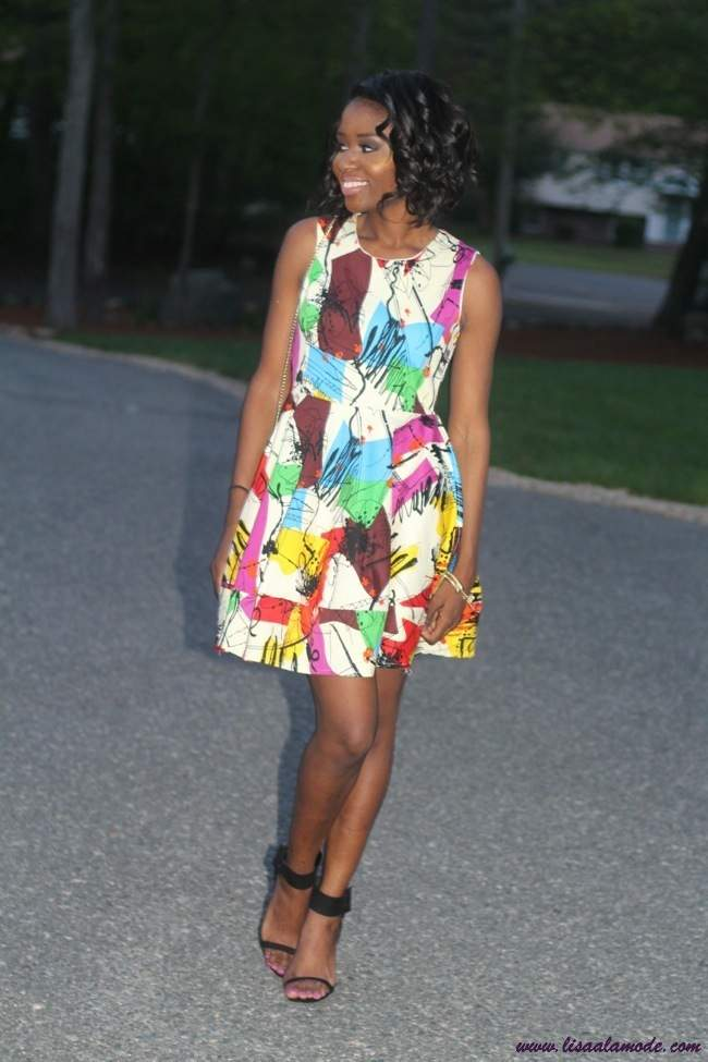 Multicolor-Sleeveless-Graffiti-Print-Flare-Short-Dress-sheinside