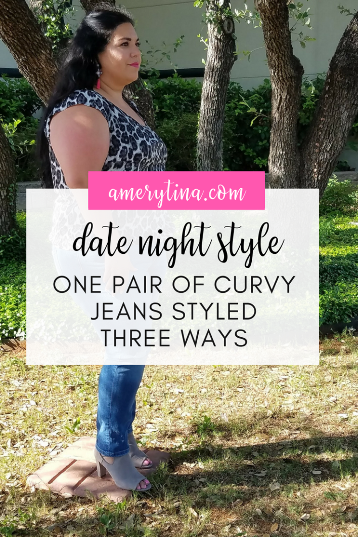 When planning a date night with tons of different activities, I knew I needed a few outfit changes! With my favorite jeans, I created three different outfits for our night of fun! #datenight #plussize #style #jeans #outfitinspo