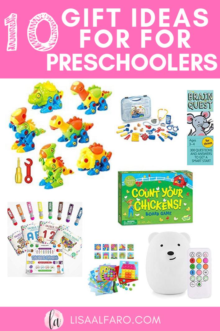 10 Gift Ideas for Preschoolers #toddler #preschooler #gifts #giftguide #kids #amazon
