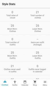 Wardrobe Stats
