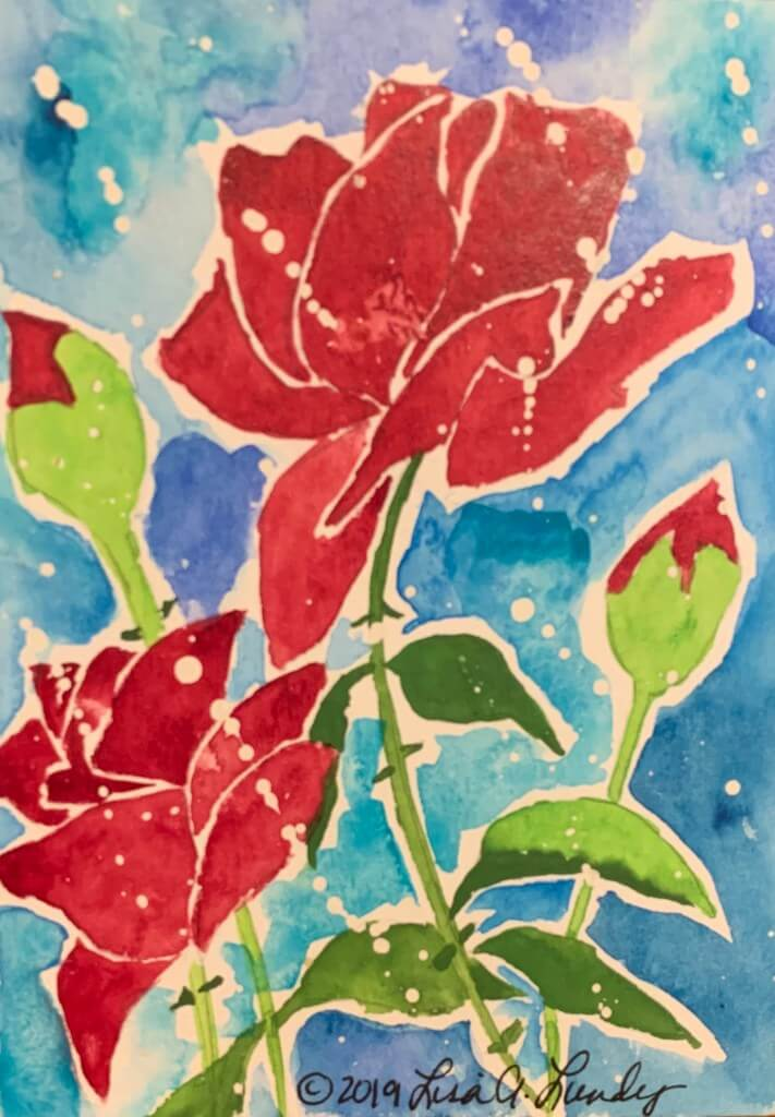 Watercolor rose painting representing your flourishing life