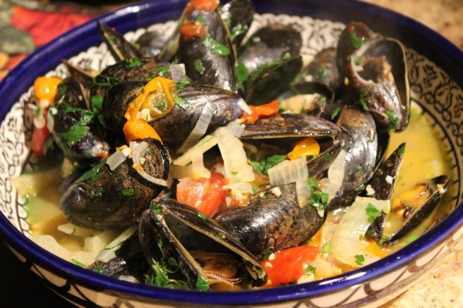 Mussels in ouzo