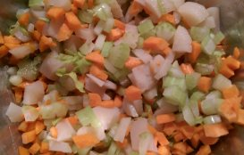 carrot celery water chestnut mix