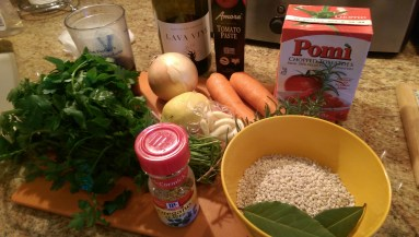 Italian Barley soup ingredients