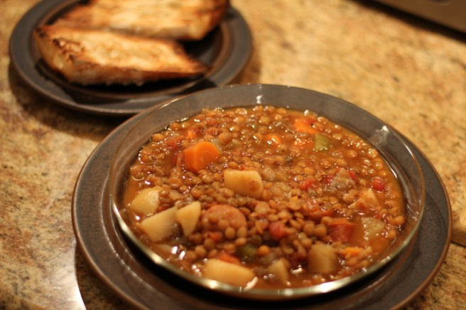 bowl of lentil soup2
