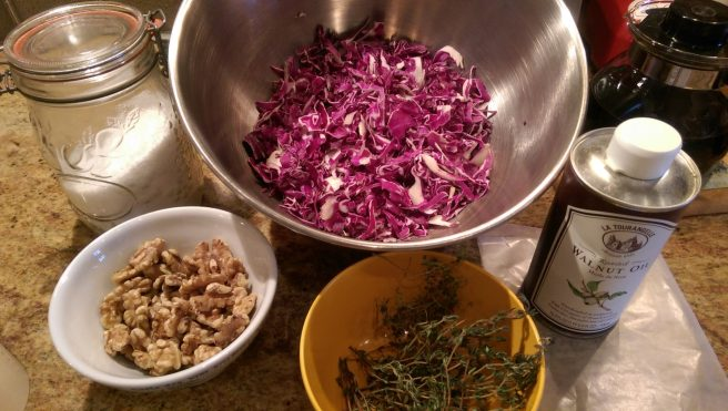 prep for red cabbage salad