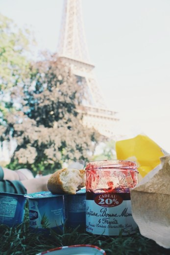Breakfast picnic with my sister by the Eiffel Tower.