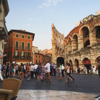 Eating dinner next to the Arena di Verona.
